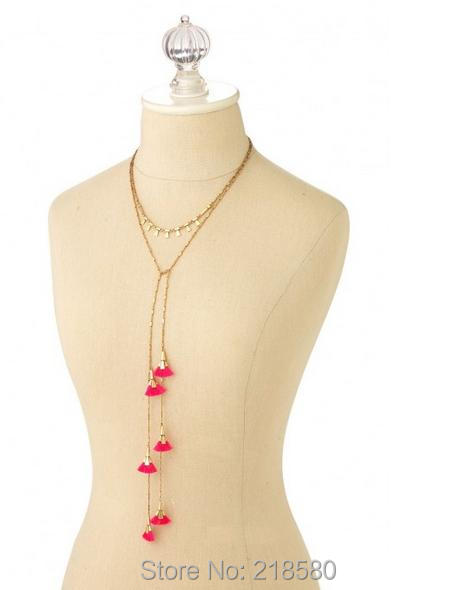 N16061607 Small Pink Tassel Necklace Lariat Neklace Gold Chain Necklace Versatile Double Layering Necklace