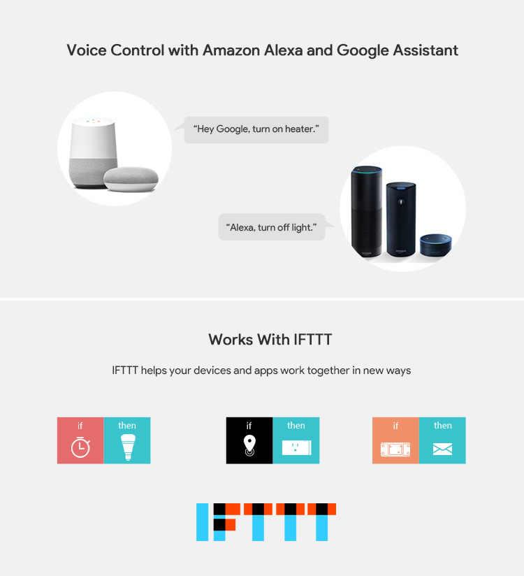 Interruptor de pared inteligente WiFi de la aplicación Ewelink, Control remoto del Interruptor táctil Compatible con Alexa Google asistente, IFTTT, no Hub requiere