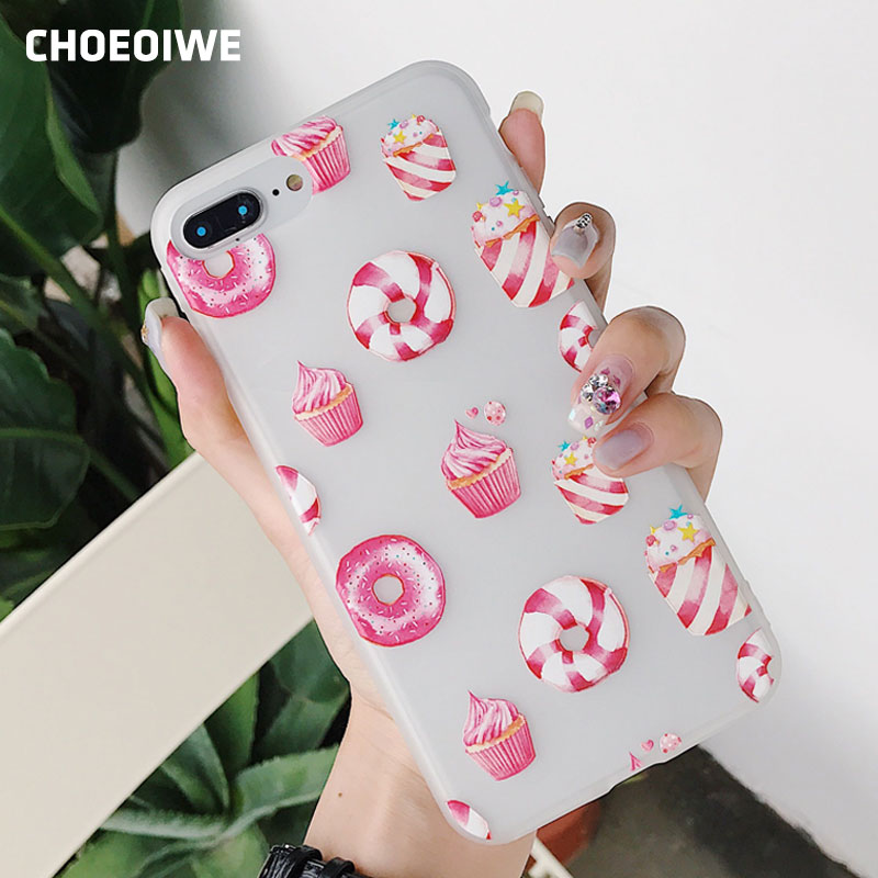 CHOEOIWE i6 6s Ice Cream Donut Relief Cute Case for iPhone X 8 6 6S Plus 7 Plus 8Plus Case Soft TPU Silicon Phone Shell Cover