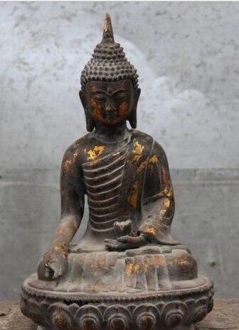 JP S1052 Chine Temple Bronze Cuivre Thaïlande Bouddhisme Tenir Lotus Sakyamuni Bouddha Statue