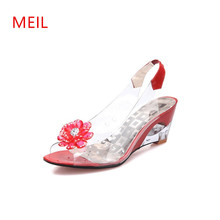 Plus Size 32-43 Women Shoes Summer High Quality Sexy rystal Transparent Diamond Wedges Sandals High heels 6cm Slope Sandals slope with super high heels sexy transparent diamond beaded sequined flowers fish head shoes lace summer sandals and slippers