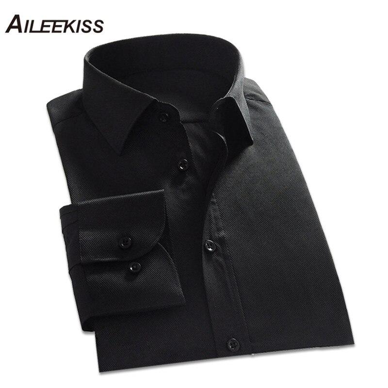 AILEEKISS Men Dress Shirts Solid Long Sleeve Mens Business Work Wear Clothes Mal