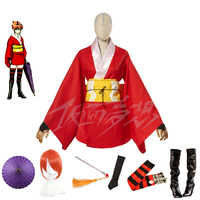 Gintama Yoshiwara Kagura Leader Kimono Dress Cosplay Costume Adult Anime Clothes Custom mde