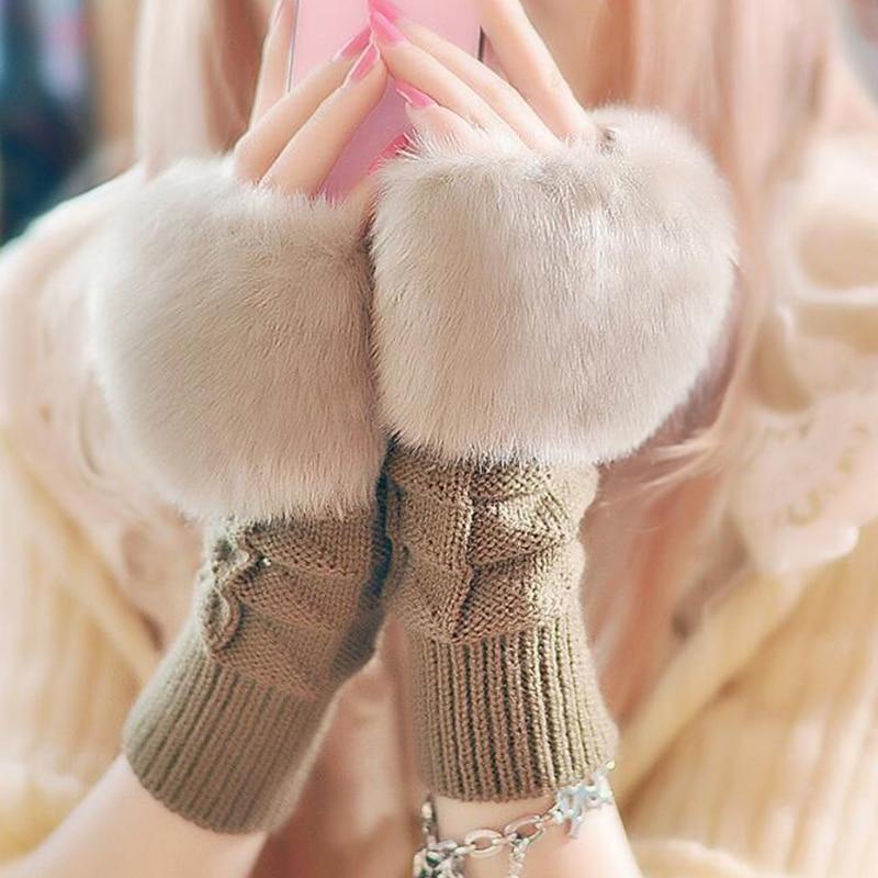 Women Gloves With Faux Rabbit Fur Winter Knitting Gloves Wrist Crochet Knitted Fingerless Gloves Mittens Autumn Warmer Gloves