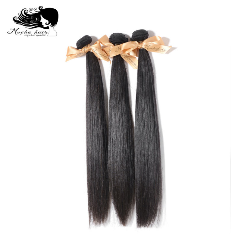 MOCHA Hair Human-Hair-Extension 3-Bundles Straight Brazilian 10A 8--28natural-Color 100%Unprocessed