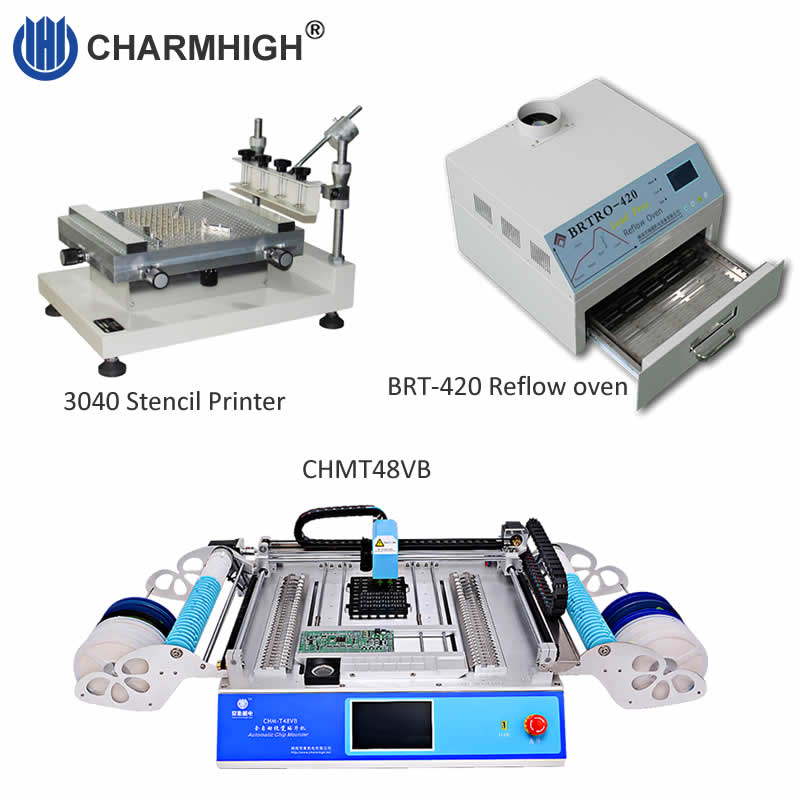 Discount SMT Production line 3040 Stencil printer CHMT48VB p p machine 58 feeders 2500w Reflow oven