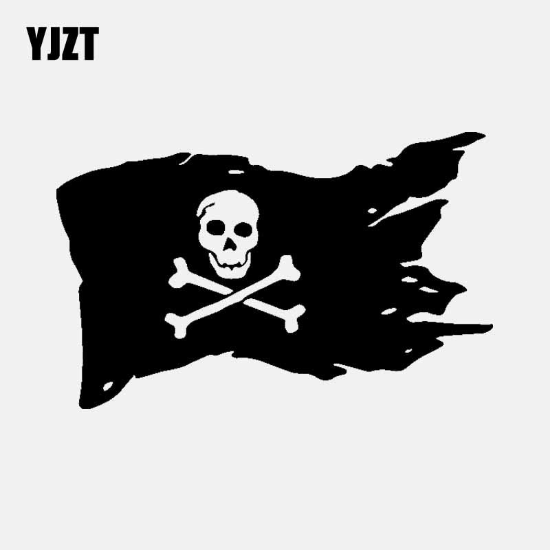 YJZT 14.2CM*9CM Pirate Flag Vinyl Decal Skull Bones Cross Ship Car Sticker Decor Black/Silver C3-1836