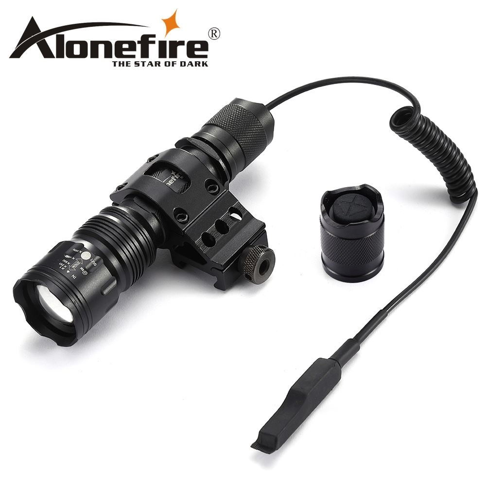 AloneFire TK104 CREE XM-L2 LED Hunting Tactical Gun Flashlight Torch With Gun Scope Bases Mount+remote Pressure Pad Switch