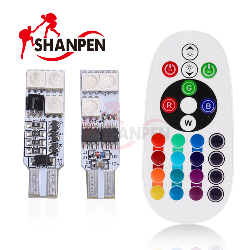 2x  RGB T10 194 168 W5W Car Reading Wedge Light Lamp 5050smd 6 LED16 Colors LED Bulb With Remote Controller Flash/Strobe carprie super drop ship new 2 x canbus error free white t10 5 smd 5050 w5w 194 16 interior led bulbs mar713