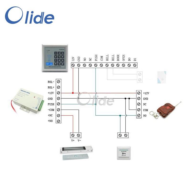 Toegangscontrole Complete Kit Voor Enkele Frameloze Deur Met Magnetische Lock, Access Toetsenbord, afstandsbediening, stroombron etc - 3