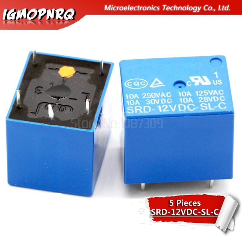 5PCS Relay SRD-12VDC-SL-C SRD-12VDC-SL SRD-12VDC SRD-12V Relays 5PINS 12V DC High Quality