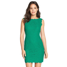 New Women Cocktail Party Sleeveless Green Lace Midi Length Zipper Back Quality Lace Dress