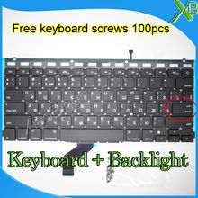 Brand New For MacBook Pro Retina 13.3″ A1425 Small Enter RS Russian keyboard+Backlight Backlit+100pcs keyboard screws 2012 Year