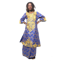 2015 New African Fashion Design African Traditional Bazin Riche Material Embroidery Dress Suit Tow Pcs