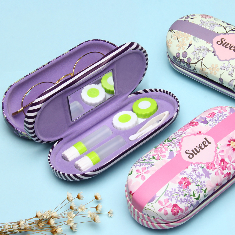 Creative 1Pcs Contact Lens Case Hard Floral Glass Storage Spectacle Glasses Cases Boxes Protector Holder