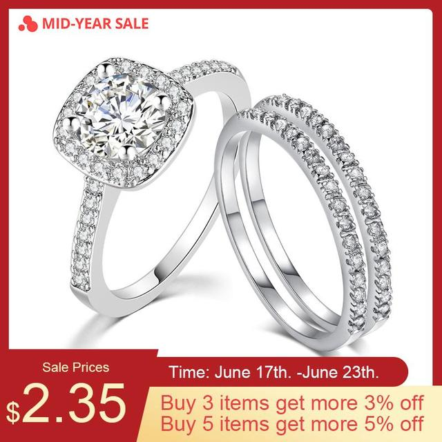 ZHOUYANG Wedding Ring Sets For Women Classic Round Cut AAA+ CZ Crystal Silver Color Fashion Jewelry Chirstmas Gift SR531