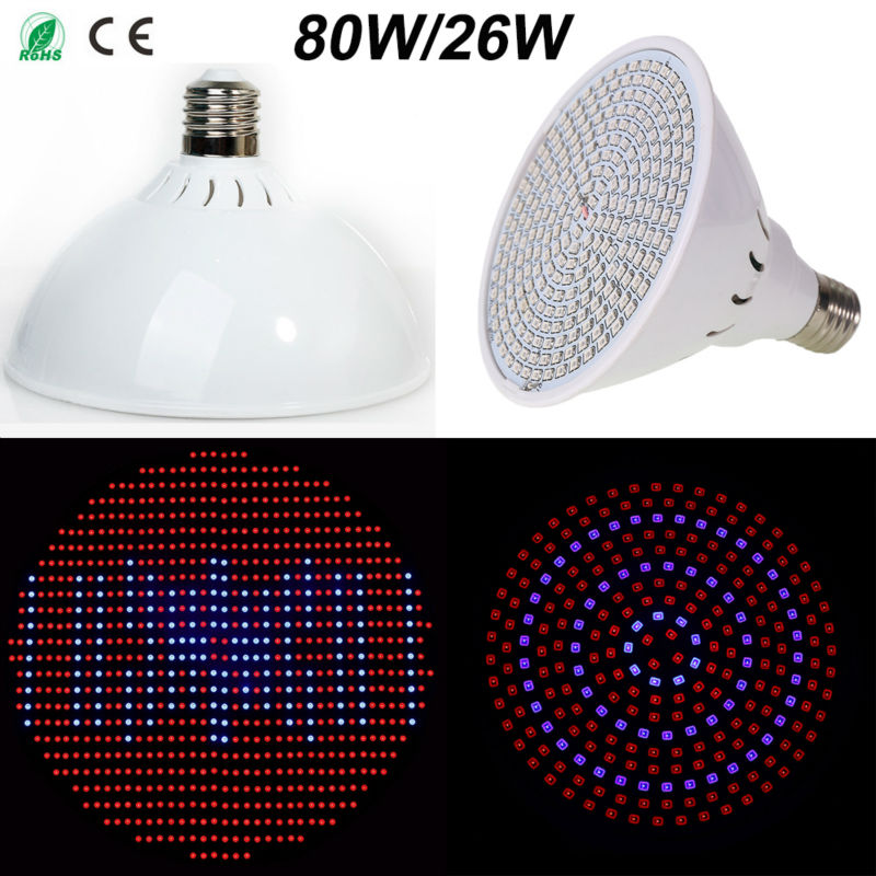 Red+Blue 26W 260LEDs 80W 800LEDs E27 LED Plant Grow Light Lamps AC85~265V LED Hydroponic ...