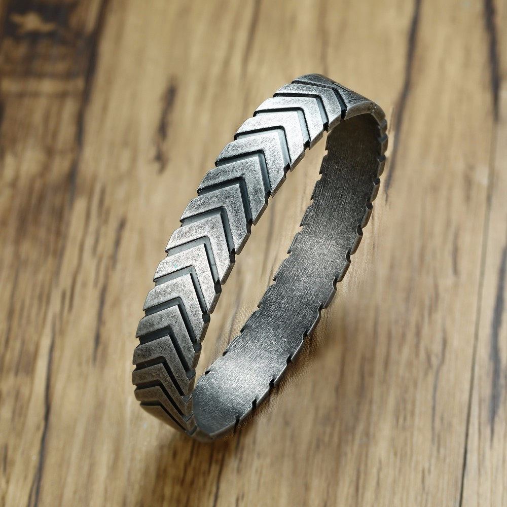 Mens Vintage Gray Chevron Bracelet Stainless Steel Mid Century Modern Braslet for Male Hinged Bangle Men Jewelry 12MM