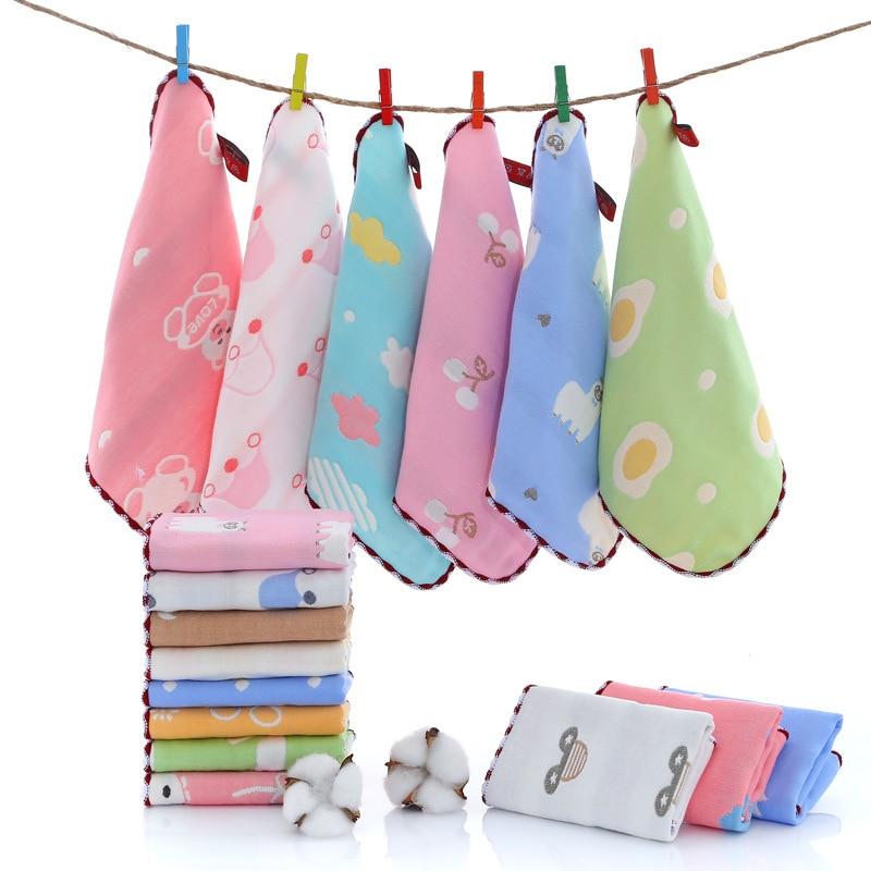 10pc/lot Six Layer Cotton Kerchief Baby Child Small Towel Gauze Saliva Cotton Jacquard Weave Handkerchief