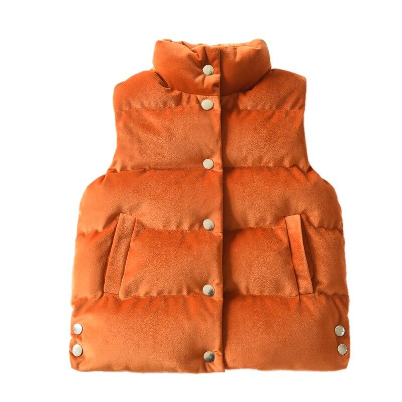 Winter Baby Girls Waistcoat Gold Velvet Padded Kids Jackets Vett Thick Children's Clothing Single breasted Children's Outerwear
