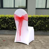 25pcs 1 Set 17 Colorful Wedding Organza Chair Sash Bow For Chair Cover Banquet Wedding Party