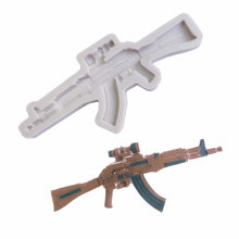 Toy Rifle Shape Fondant Cake Silicone Chocolate Biscuits Mould Soap Candle Pastry Ice Cube Molds DIY Cake Decoration Tools Aouke(China)