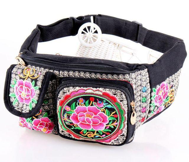 El nuevo Venir de Las Mujeres bolsos de La Cintura! Hot Vintage bordado Étnico bordado bolsa de lona paquetes de la cintura del brazo portátil de viaje bolsas de hombro