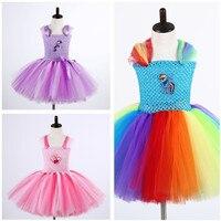 Fiesta de cumpleaños de Dibujos Animados Caballo Niñas Vestido Lavanda, Rainbow Dress Tutu Tul Vestido de Halloween Cosplay Disfraces de Navidad Para Niños Chicas