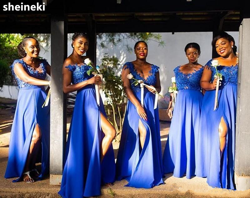 African Royal Blue Chiffon V Neck Lace Appliques Illusion Bridesmaids Dresses Formal Long Wedding Party Dress Side Slit Guest Weddings & Events