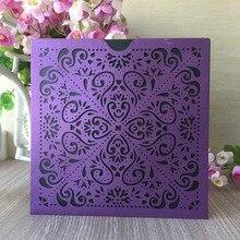 30 шт./лот лазерная резка бумаги перлы роскошное фиолетовое карманный дизайн День рождения открытка украшения свадебные приглашения карты