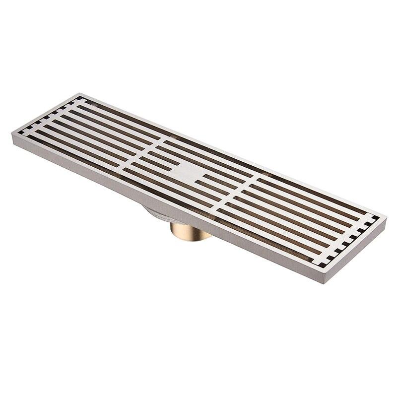 Qualidade de Bronze 8X30 cm Brushed Nickel Banheiro Antigo Chuveiro Linear Dreno de Assoalho de Resíduos Drainer Coador De Arame Cromado Atacado