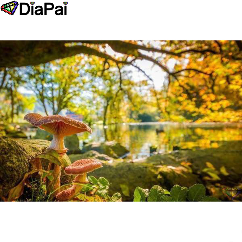 DIAPAI Diamond Painting 5D DIY 100 Full Square Round Drill quot Mushroom tree quot Diamond Embroidery Cross Stitch 3D Decor A24284 in Diamond Painting Cross Stitch from Home amp Garden