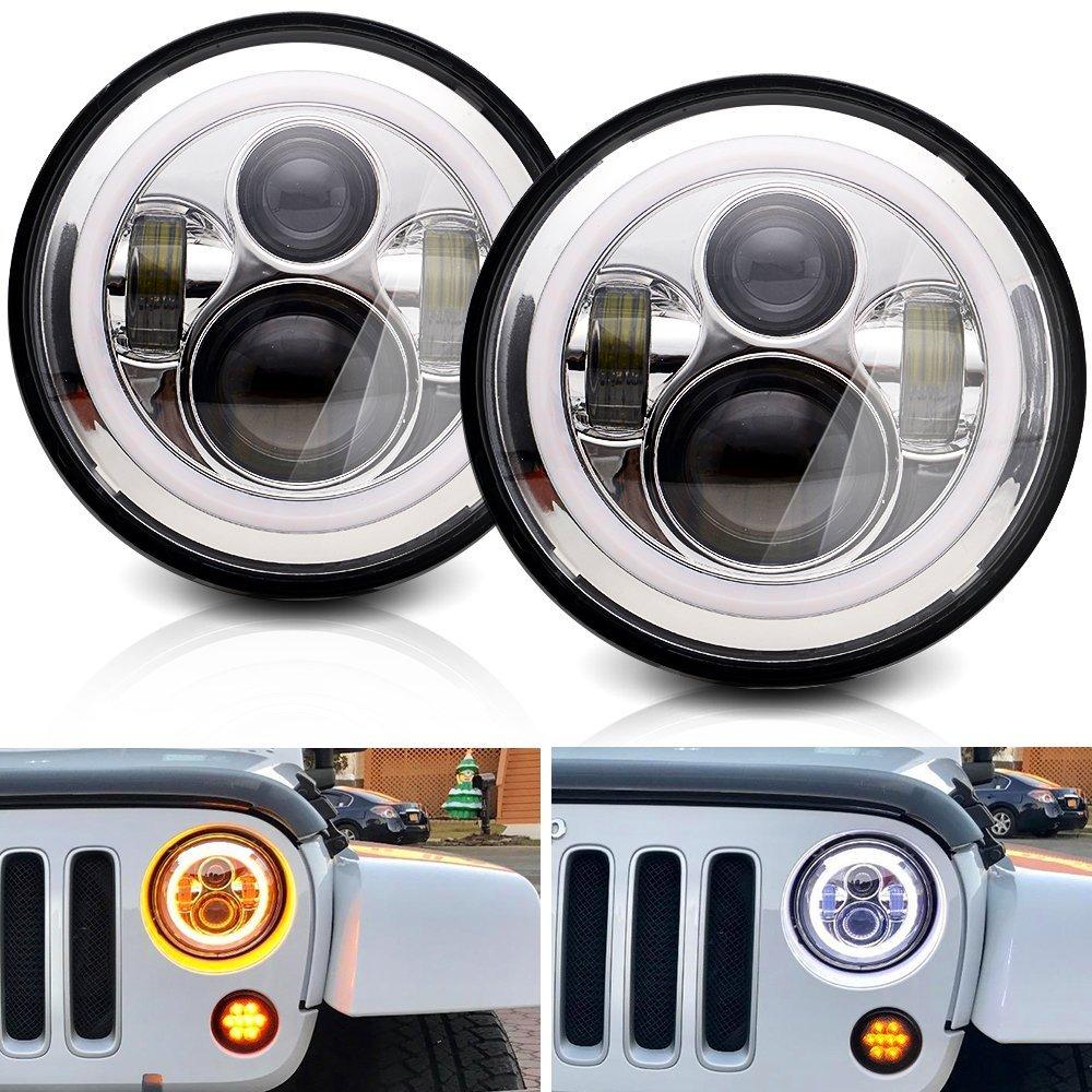 DOT 7 Round LED Headlights Halo Ring Angel Eyes DRL lamp Turning Signal Lights For Jeep Wrangler JK LJ TJ CJ Hummer H1 H2