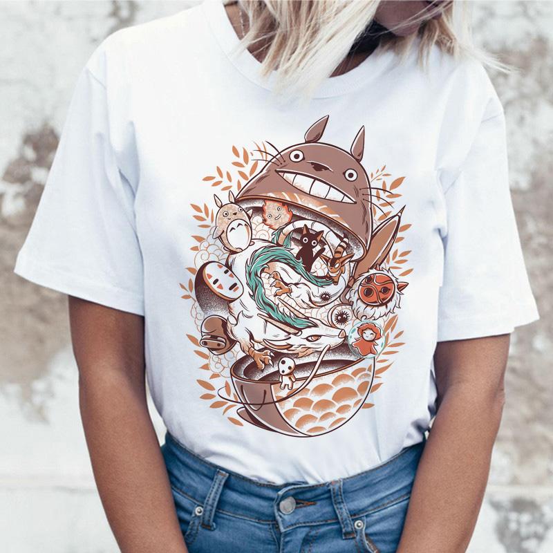 Totoro T Shirt Fashion Tshirt Clothes Graphic Femme T-shirt Women Harajuku Female Top Tee Kawaii Ulzzang Shirts Casual Grunge