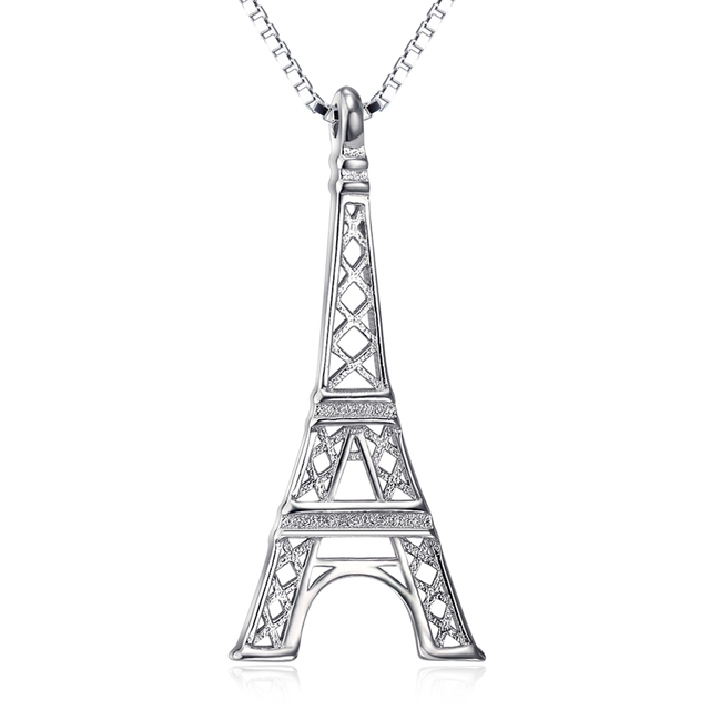 Genuine 925 sterling silver fashion fine jewelry eiffel tower genuine 925 sterling silver fashion fine jewelry eiffel tower pendant necklace collier choker women party gift aloadofball Images
