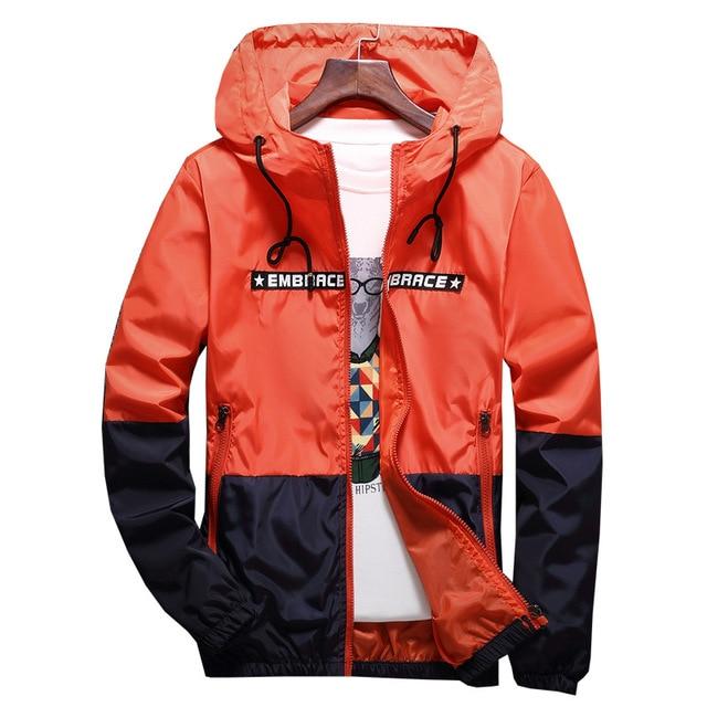 New Spring Autumn Bomber Hooded Jacket Men Casual Slim Patchwork Windbreaker Jacket Male Outwear Zipper Thin Coat Brand Clothing 4