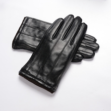 New Man's Genuine Leather Drive Gloves High Quality Stripe Pattern Thicken Keep Warm Solid Color Hot Sale HX168911