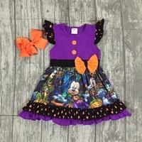 Halloween Purple Dress Baby Girls Short Sleeves Mouse Print Milk Silk Pumpkin Bow Clothing Boutique Cartoon