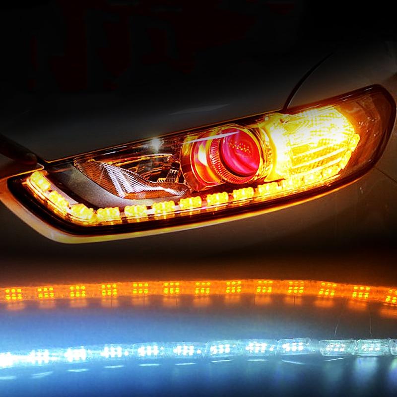 2pcs car led daytime running lights kit drl DC12V Running Turn Signal Light steady flow led strip headlights bar for Lada Niva 1 pair car led lights 12 24v drl head lights 8w turn light strip