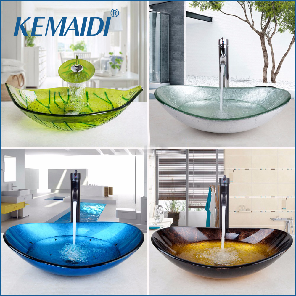 KEMAIDI US Waterfall Spout Basin Black Tap Bathroom Sink Washbasin Tempered Glass Hand Painted Bath Brass