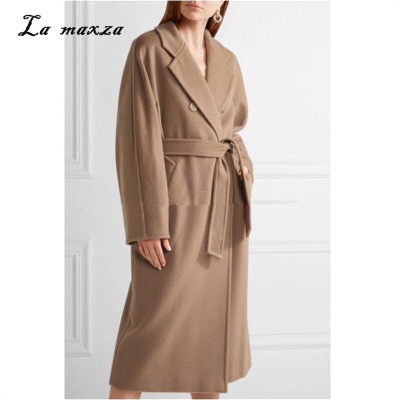 Winter Women Wool Coat 2018 Elegant Warm Long Office Camel Coat Korean Style Fashion Womens Coats