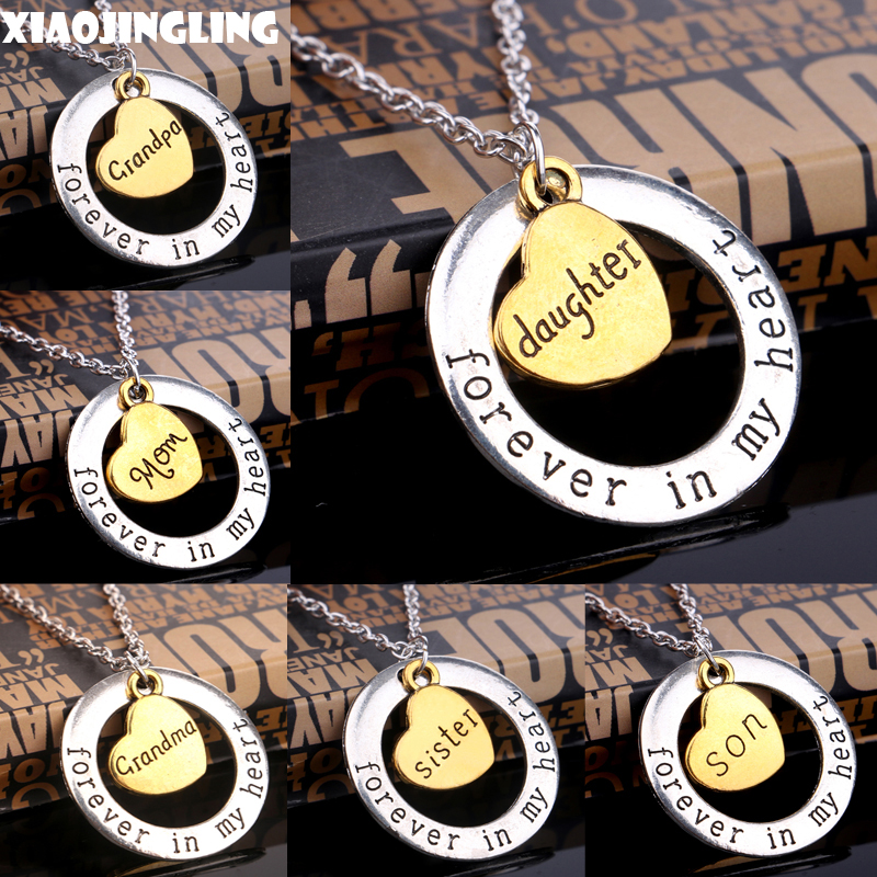 Xiaojingling round circle forever in my heart pendant necklace xiaojingling round circle forever in my heart pendant necklace gold heart engraved mom grandpa son sister mom christmas gifts aloadofball Gallery