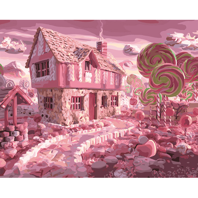 ᗔSin marco Casa del caramelo aceite pinturas modulares en la pared ...