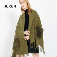 Green Elegantly Scarf European Designers Fashion Winter New Pure Fringed Scarf +Pocket Imitation Cashmere Warm Functional Shawl