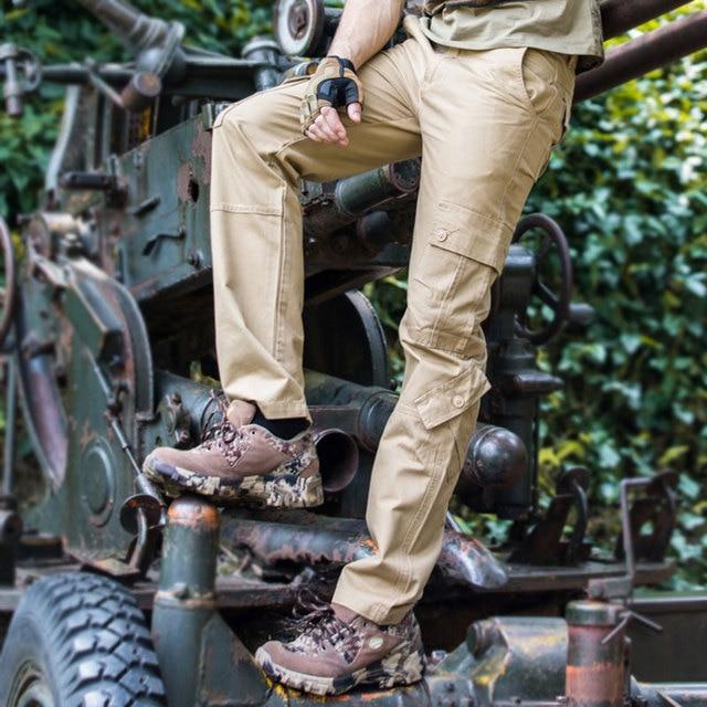 Mens Cargo Pant Overalls Multi-pocket Quality Cotton Casual Pants Militar Cargo Black Khaki Brown 40 42