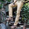 Mens Trajes de Pantalón de Carga Multi-bolsillo de Algodón de Calidad Casual Pantalones de Carga Militar de Color Caqui Negro Marrón 40 42