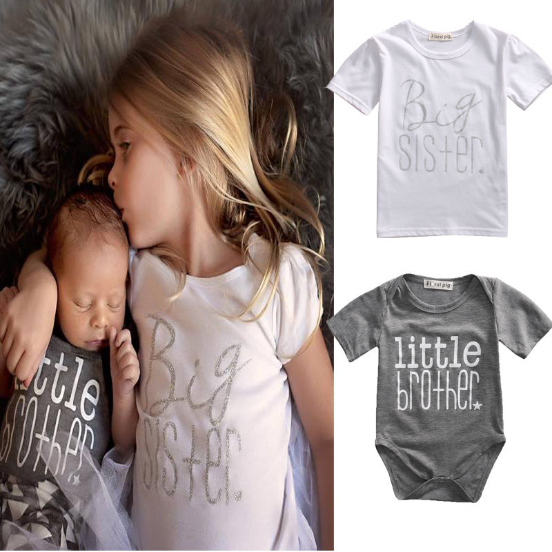Matching Cotton Clothes Big Sister T-shirt Little Brother Romper Outfit Playsuit BOYS GIRLS CLOTHES