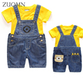 Summer Toddlers Girls Suits Kids Top Shirt+Bib Pants Outfit Minions Baby Overalls Suit Children Sets 2pcs Clothes YL460