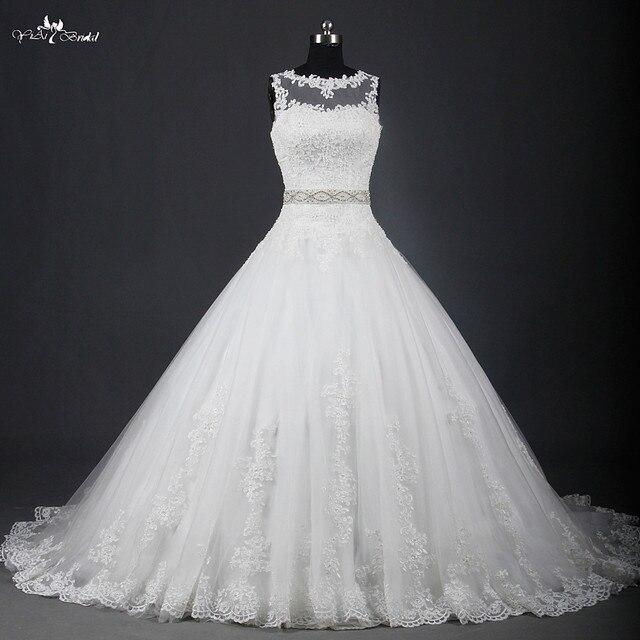 RSW951 Illusion Leher Cina Lace Ball Gown Wedding Dresses di Wedding ...