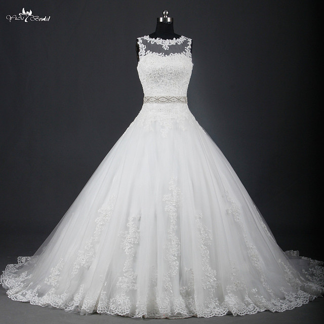 RSW951 Illusion Neckline China Lace Ball Gown Wedding Dresses-in ...